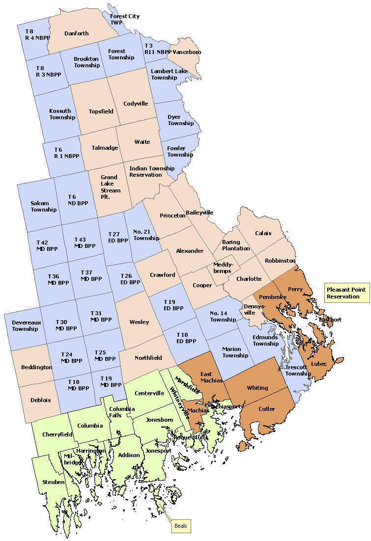Municipal Directory - Maine towns map